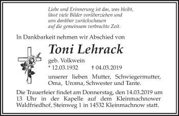 Traueranzeige für Toni Lehrack vom 09.03.2019 aus Märkischen Allgemeine Zeitung