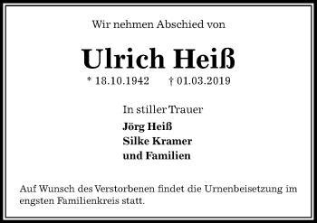 Traueranzeige für Ulrich Heiß vom 09.03.2019 aus Peiner Allgemeine Zeitung