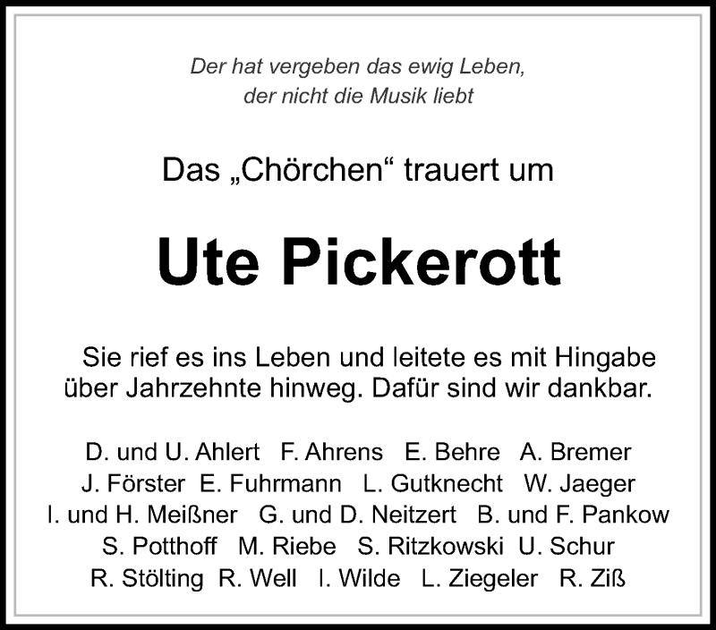 Traueranzeige für Ute Pickerott vom 09.03.2019 aus Göttinger Tageblatt