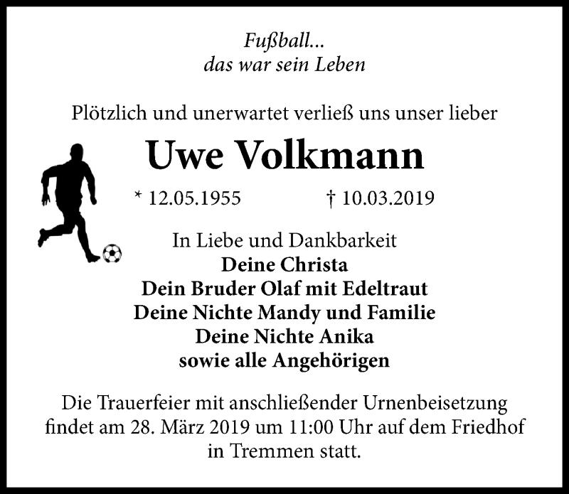 Traueranzeige für Uwe Volkmann vom 13.03.2019 aus Märkischen Allgemeine Zeitung