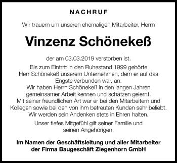 Traueranzeige für Vinzenz Schönekeß vom 16.03.2019 aus Göttinger Tageblatt