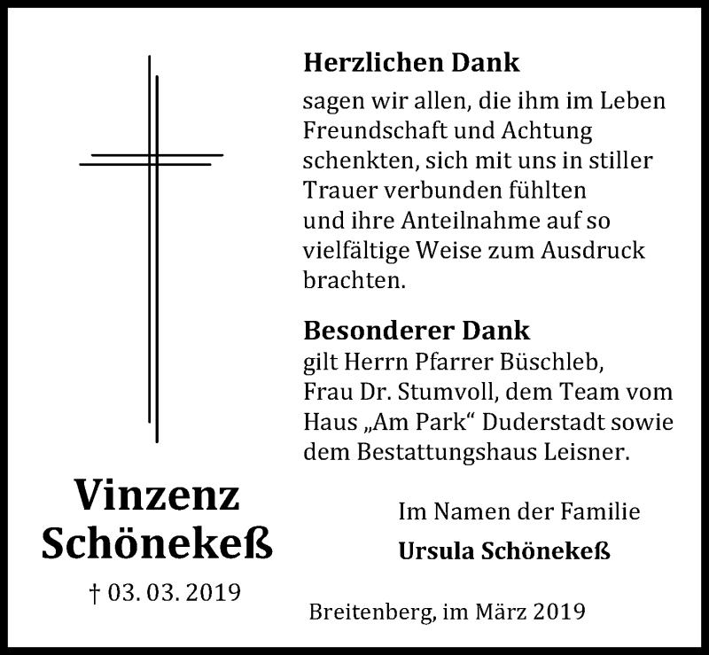 Traueranzeige für Vinzenz Schönekeß vom 23.03.2019 aus Eichsfelder Tageblatt