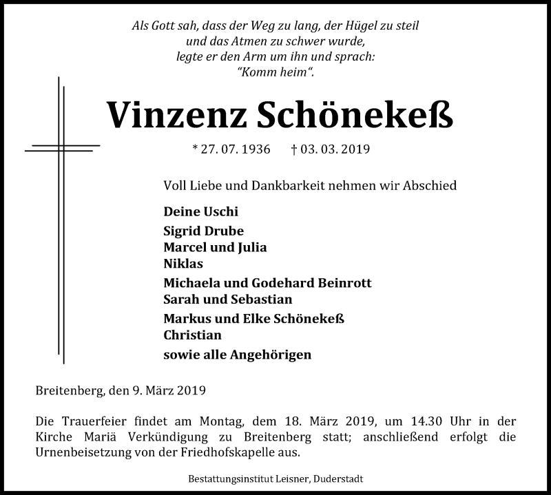 Traueranzeige für Vinzenz Schönekeß vom 09.03.2019 aus Eichsfelder Tageblatt