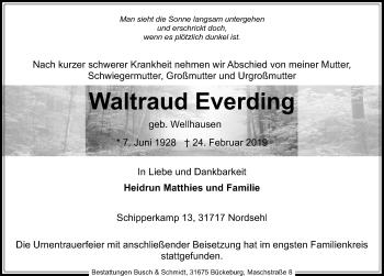 Traueranzeige für Waltraud Everding vom 09.03.2019 aus Schaumburger Nachrichten