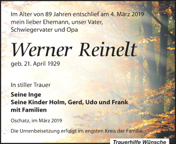 Traueranzeige für Werner Reinelt vom 09.03.2019 aus Leipziger Volkszeitung