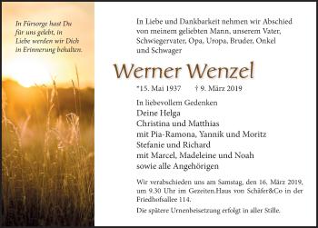 Traueranzeige für Werner Wenzel vom 13.03.2019 aus Lübecker Nachrichten