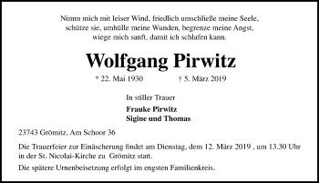 Traueranzeige für Wolfgang Pirwitz vom 09.03.2019 aus Lübecker Nachrichten
