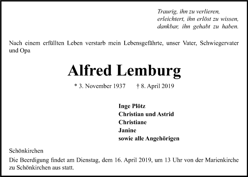 Traueranzeige für Alfred Lemburg vom 13.04.2019 aus Kieler Nachrichten