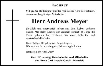 Traueranzeige für Andreas Meyer vom 11.04.2019 aus Göttinger Tageblatt
