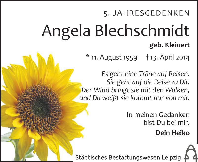 Traueranzeige für Angela Blechschmidt vom 13.04.2019 aus Leipziger Volkszeitung