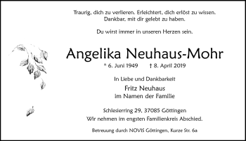 Traueranzeige für Angelika Neuhaus-Mohr vom 13.04.2019 aus Göttinger Tageblatt