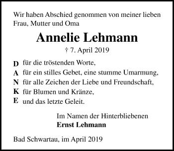 Traueranzeige für Annelie Lehmann vom 27.04.2019 aus Lübecker Nachrichten