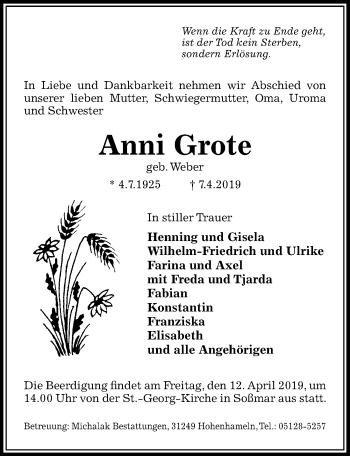 Traueranzeige für Anni Grote vom 10.04.2019 aus Peiner Allgemeine Zeitung