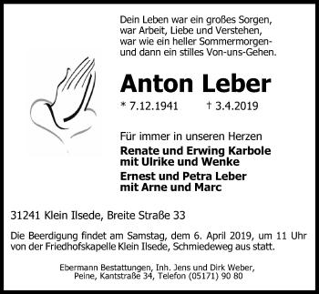 Traueranzeige für Anton Leber vom 05.04.2019 aus Peiner Allgemeine Zeitung
