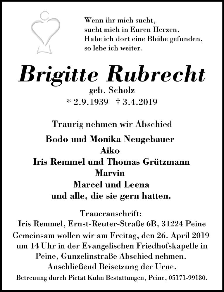 Traueranzeige für Brigitte Rubrecht vom 13.04.2019 aus Peiner Allgemeine Zeitung