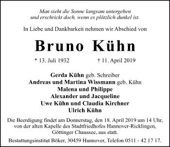 Traueranzeige für Bruno Kühn vom 13.04.2019 aus Hannoversche Allgemeine Zeitung/Neue Presse