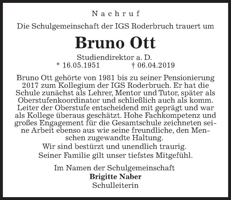 Traueranzeige für Bruno Ott vom 17.04.2019 aus Hannoversche Allgemeine Zeitung/Neue Presse