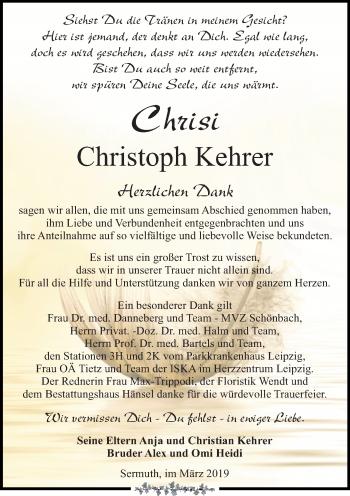 Traueranzeige für Christoph Kehrer vom 06.04.2019 aus Leipziger Volkszeitung