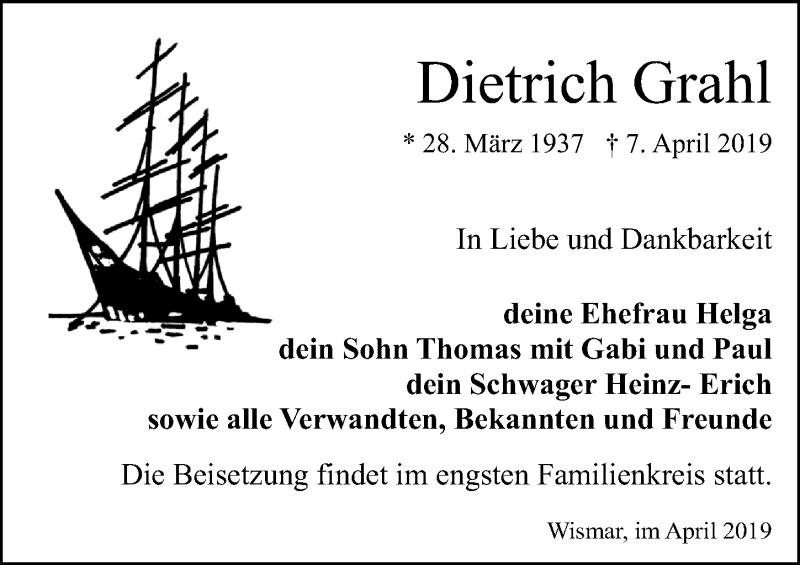 Traueranzeige für Dietrich Grahl vom 13.04.2019 aus Ostsee-Zeitung GmbH