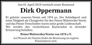 Traueranzeige für Dirk Oppermann vom 05.04.2019 aus Peiner Allgemeine Zeitung