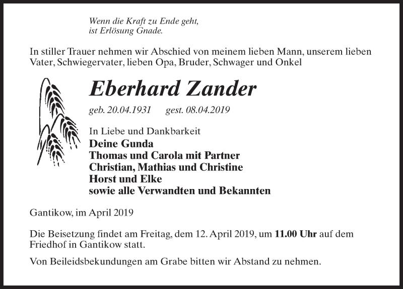Traueranzeige für Eberhard Zander vom 10.04.2019 aus Märkischen Allgemeine Zeitung