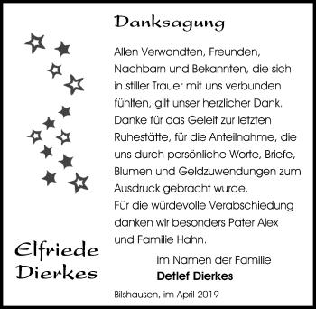 Traueranzeige für Elfriede Dierkes vom 06.04.2019 aus Eichsfelder Tageblatt