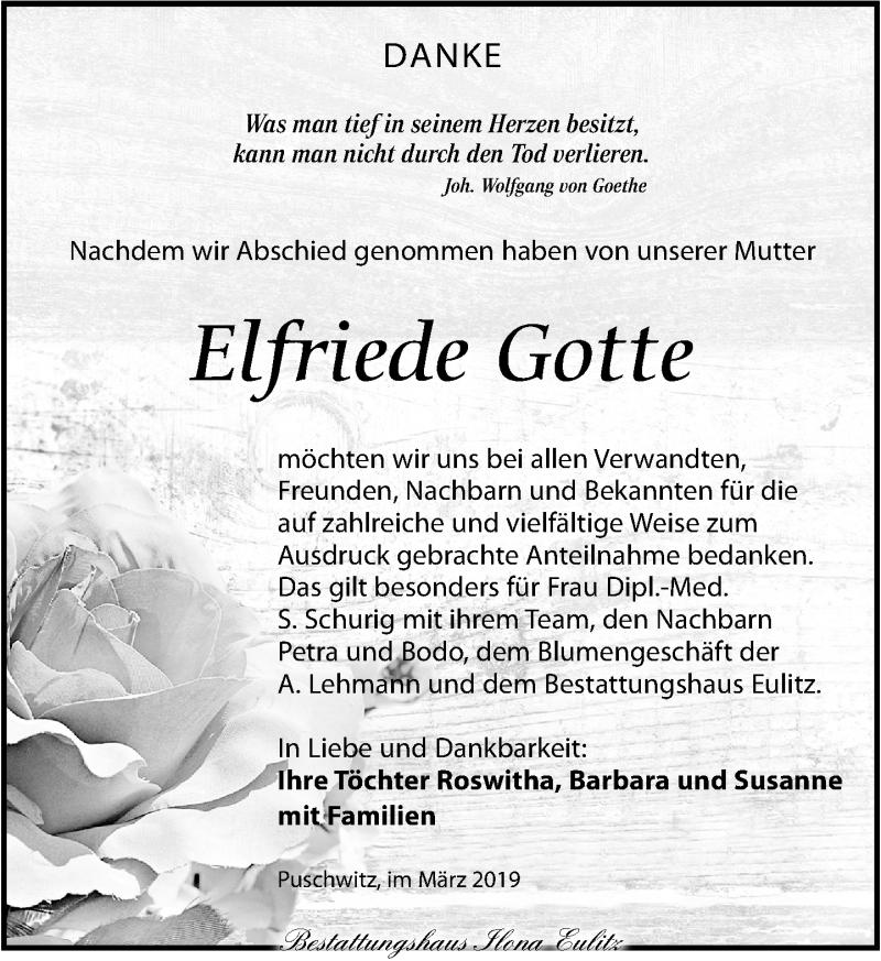 Traueranzeige für Elfriede Gotte vom 23.03.2019 aus Torgauer Zeitung