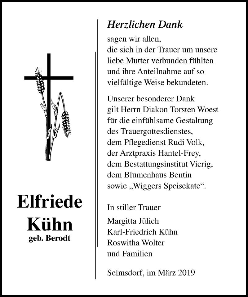 Traueranzeige für Elfriede Kühn vom 23.03.2019 aus Ostsee-Zeitung GmbH