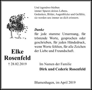 Traueranzeige für Elke Rosenfeld vom 06.04.2019 aus Peiner Allgemeine Zeitung
