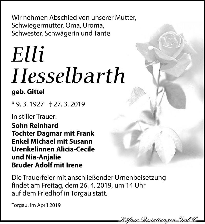 Traueranzeige für Elli Hesselbarth vom 06.04.2019 aus Torgauer Zeitung
