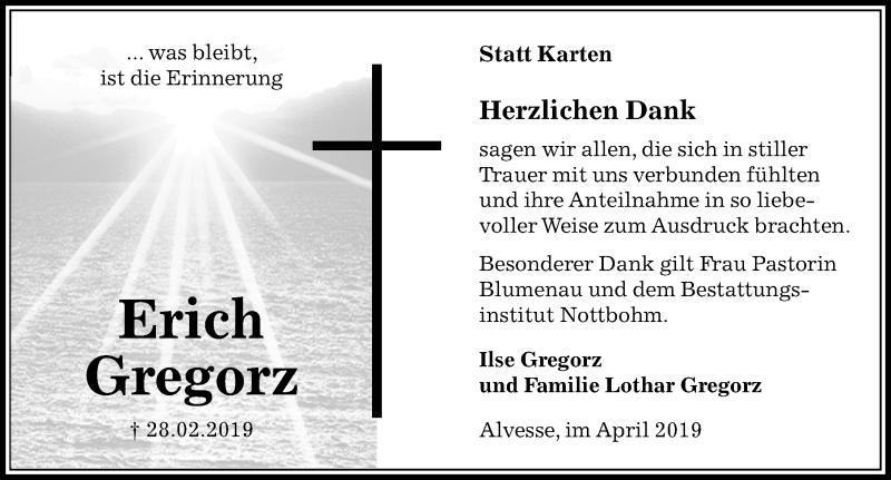 Traueranzeige für Erich Gregorz vom 13.04.2019 aus Peiner Allgemeine Zeitung