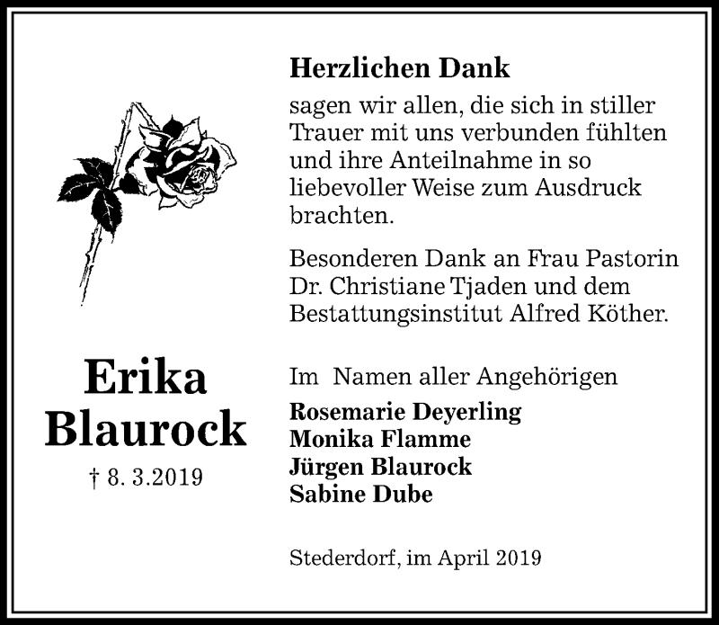 Traueranzeige für Erika Blaurock vom 13.04.2019 aus Peiner Allgemeine Zeitung