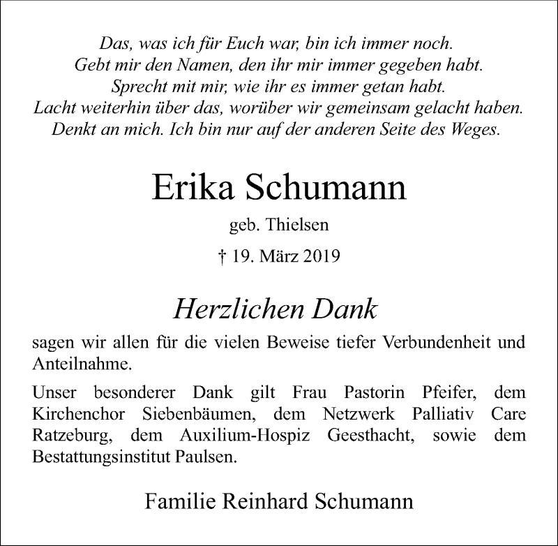 Traueranzeige für Erika Schumann vom 13.04.2019 aus Lübecker Nachrichten