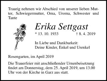 Traueranzeige für Erika Settgast vom 13.04.2019 aus Ostsee-Zeitung GmbH