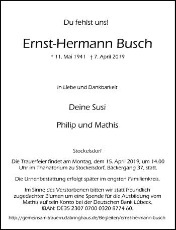 Traueranzeige für Ernst-Hermann Busch vom 14.04.2019 aus Lübecker Nachrichten