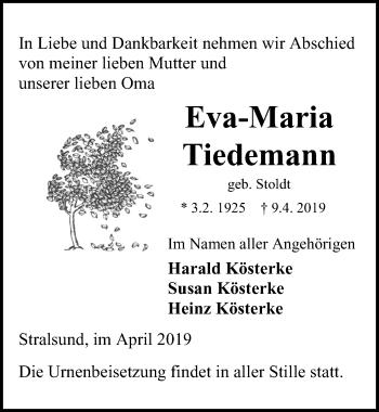 Traueranzeige für Eva-Maria Tiedemann vom 13.04.2019 aus Ostsee-Zeitung GmbH