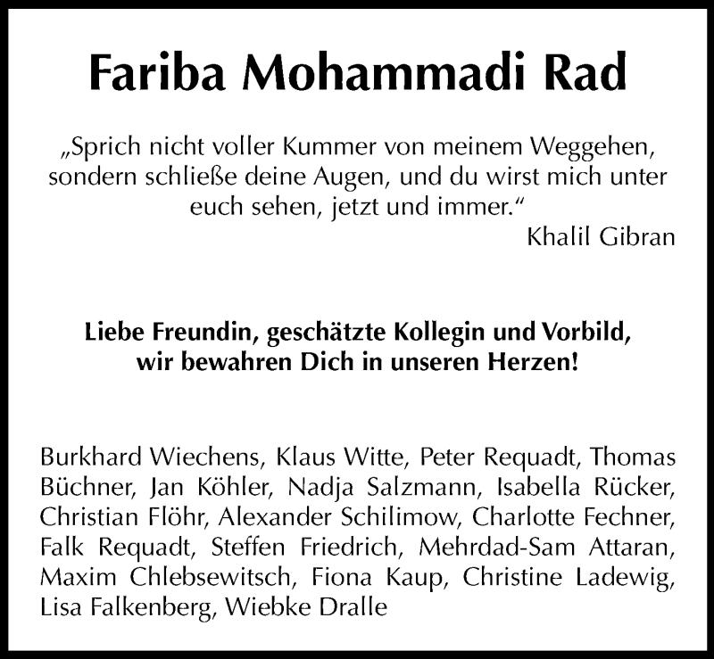Traueranzeige für Fariba Mohammadi Rad vom 13.04.2019 aus Hannoversche Allgemeine Zeitung/Neue Presse