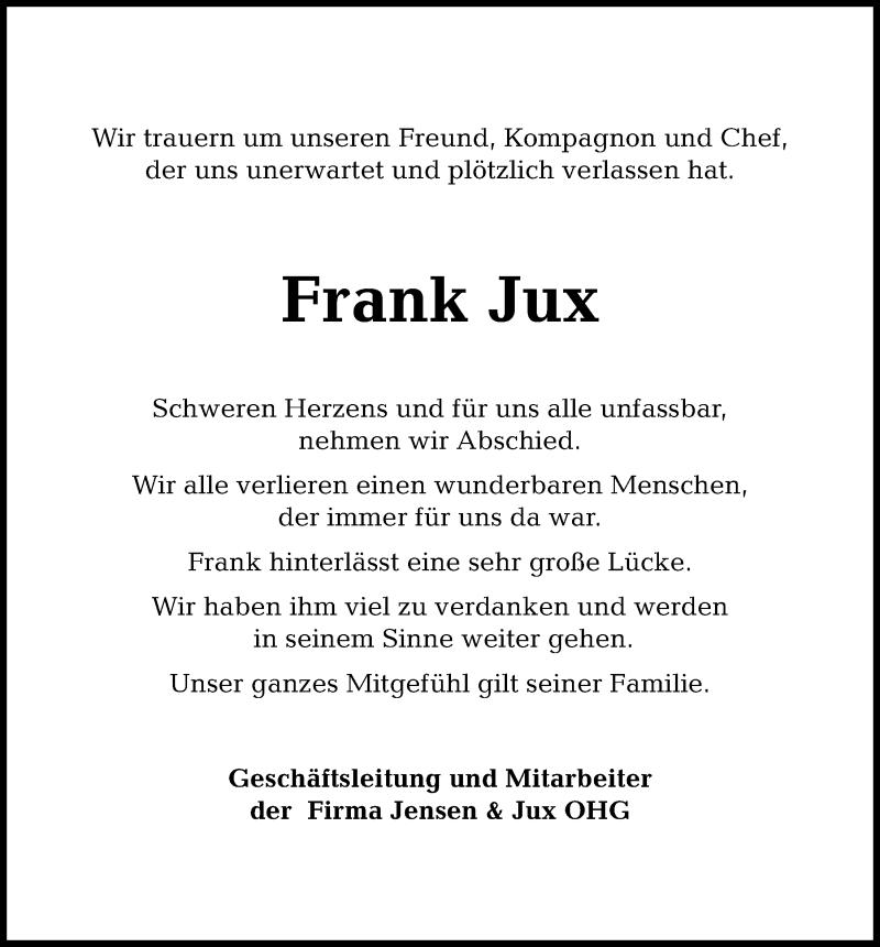 Traueranzeige für Frank Jux vom 06.04.2019 aus Kieler Nachrichten