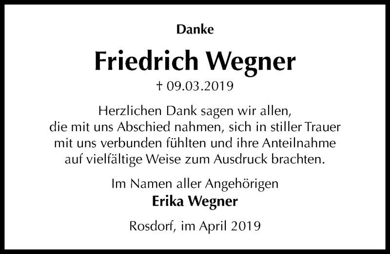 Traueranzeige für Friedrich Wegner vom 06.04.2019 aus Göttinger Tageblatt