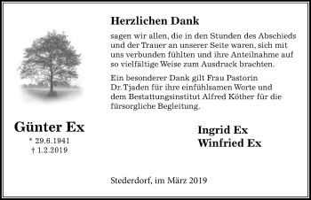 Traueranzeige für Günter Ex vom 23.03.2019 aus Peiner Allgemeine Zeitung