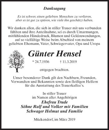 Traueranzeige für Günter Hensel vom 21.03.2019 aus Märkischen Allgemeine Zeitung