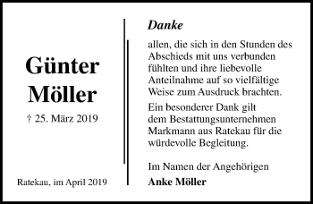 Traueranzeige für Günter Möller vom 21.04.2019 aus Lübecker Nachrichten
