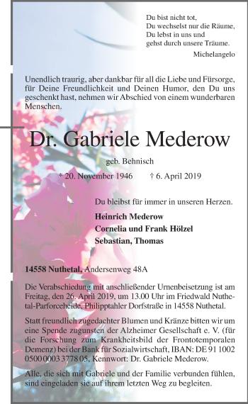 Traueranzeige für Gabriele Mederow vom 13.04.2019 aus Märkischen Allgemeine Zeitung