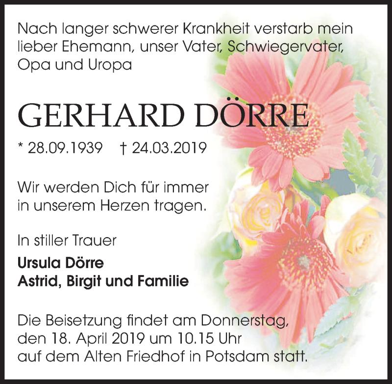 Traueranzeige für Gerhard Dörre vom 06.04.2019 aus Märkischen Allgemeine Zeitung