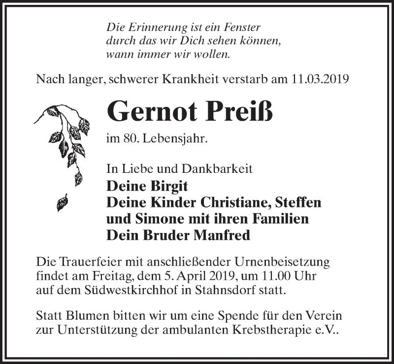 Traueranzeige für Gernot Preiß vom 23.03.2019 aus Märkischen Allgemeine Zeitung