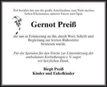 Traueranzeige für Gernot Preiß vom 13.04.2019 aus Märkischen Allgemeine Zeitung