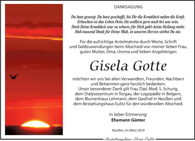 Traueranzeige für Gisela Gotte vom 23.03.2019 aus Torgauer Zeitung