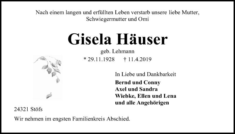 Traueranzeige für Gisela Häuser vom 17.04.2019 aus Kieler Nachrichten