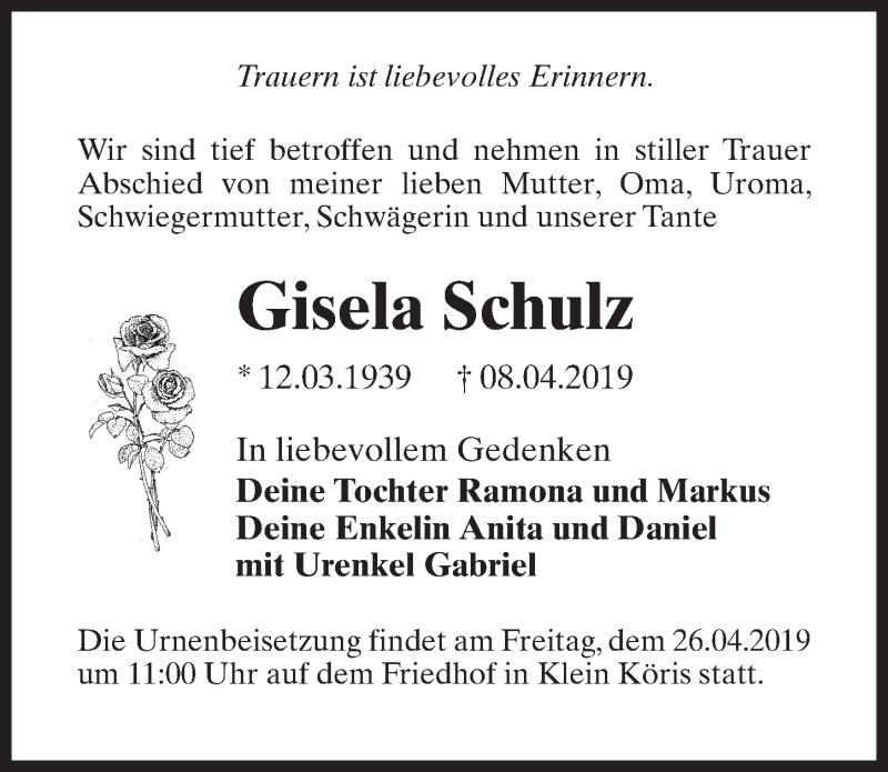 Traueranzeige für Gisela Schulz vom 13.04.2019 aus Märkischen Allgemeine Zeitung