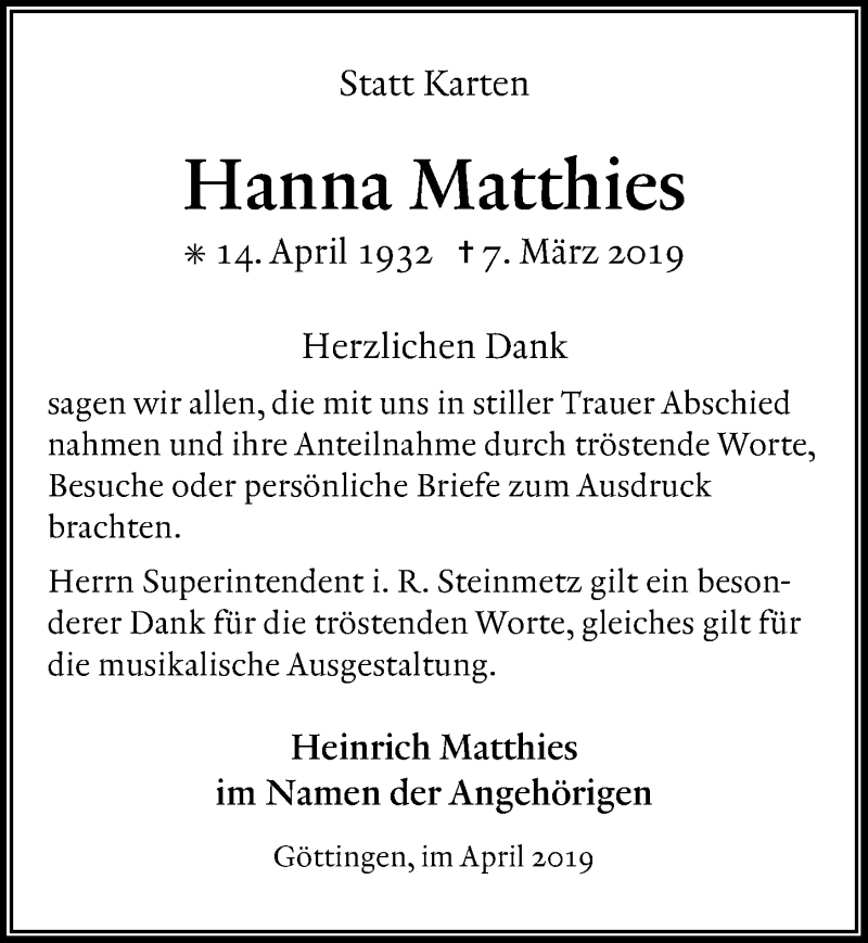 Traueranzeige für Hanna Matthies vom 20.04.2019 aus Göttinger Tageblatt
